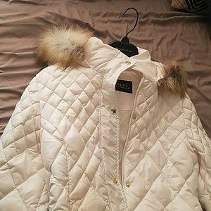 Guess white faux fur puffer coat